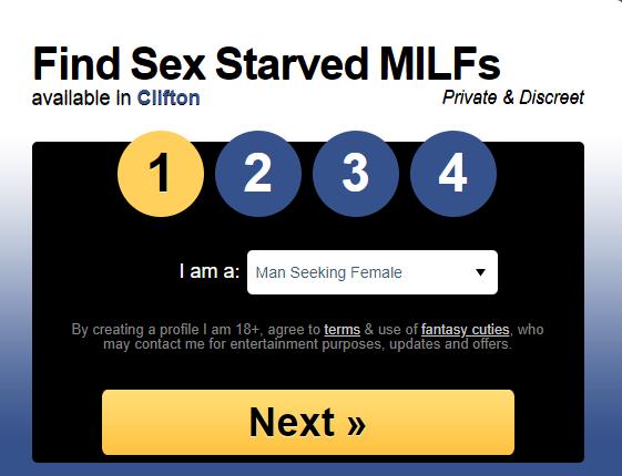 Milfaholic.com signup menu