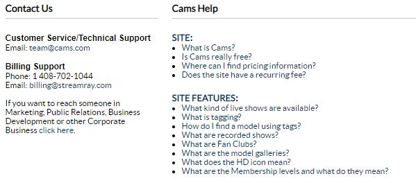 Cams.com help/contact menu