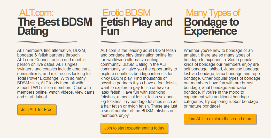 Alt.com BDSM Dating Service Description