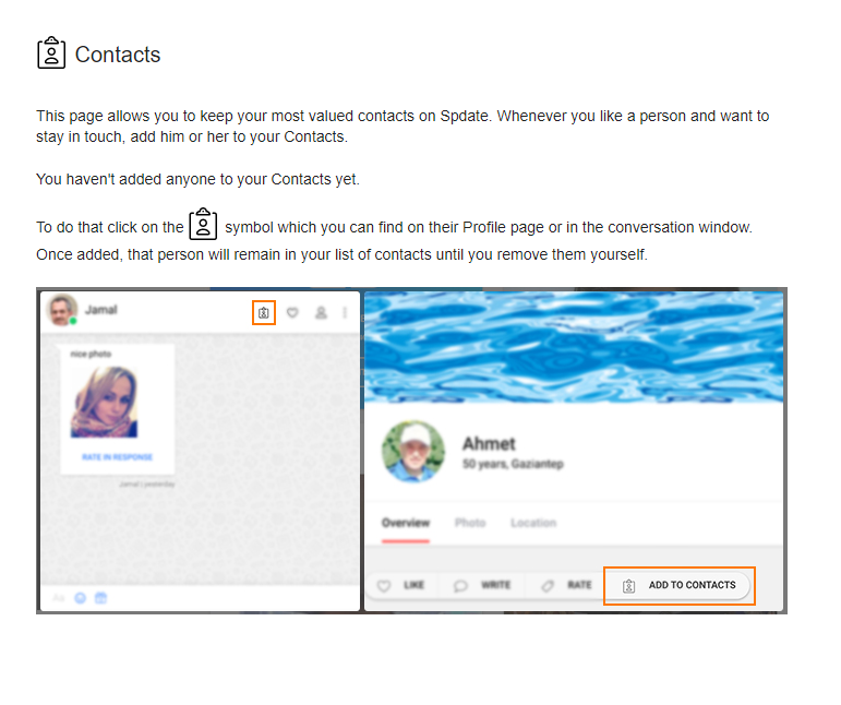 Spdate.com communication