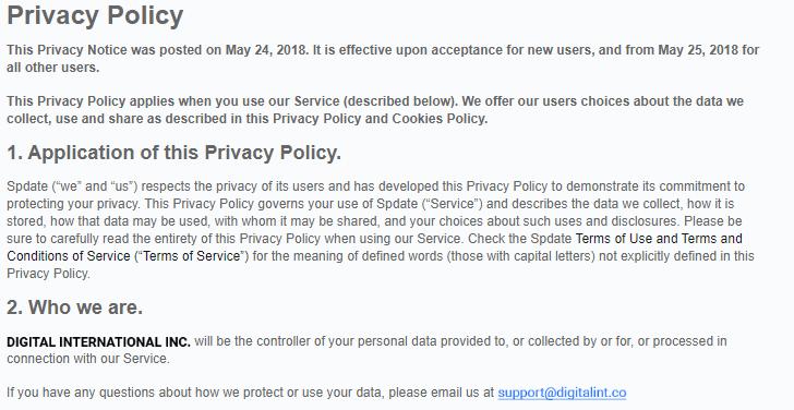 Spdate.com privacy
