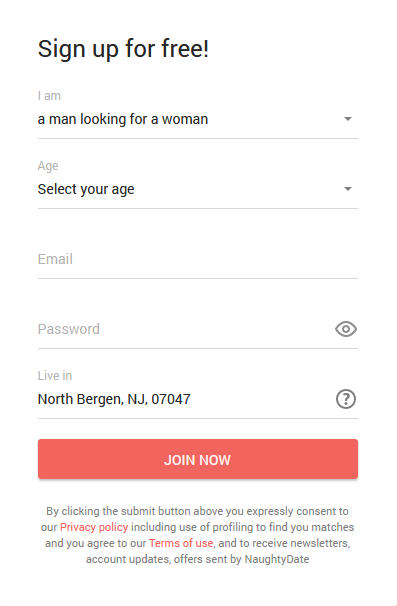 Naughtydate.com signup menu
