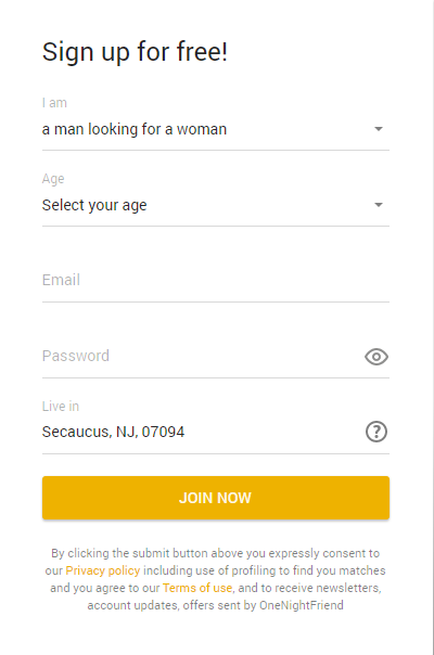 Onenightfriend.com signup menu